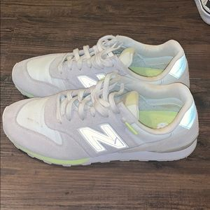New Balance 696 (White and Highlighter Yellow)